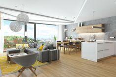Návrh interiéru bytu s exkluzivním výhledem na město Brno