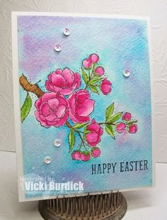 Stampin' Up! ... handcrafted Easter card from It's a Stamp Thing ... gorgeous watercolor card  using flowering branch image ...