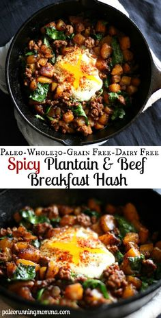 Paleo Spicy Sweet Plantain and Ground Beef Breakfast Hash - single serving topped with a baked egg.  Whole30 and Paleo meal idea great for breakfast or anytime!    #grainfree #paleo #whole30 #glutenfree