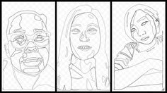 Here are some in-progress 6th grade self-portraits made with Google Draw.  From left we have work from Madison Tilly and Alie. Using the curve tool shapes are created and made transparent to be filled with color later.  This drawing method requires patience and focus to achieve a successful result. #ArtEd #OakPark97 #GBMSart #D97Art #D304