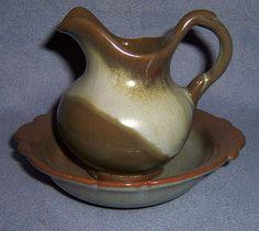 Vintage FRANKOMA small PITCHER BOWL set prairie green round O 40B red clay USA