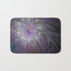 Fantastic world of the Snow Queen Bath Mat  #MarinaUsmanskayaFineArtDigitalArt #ArtForHome #HomeDecor #Fractal #Abstract #SnowQueen