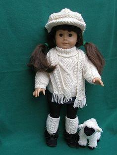 Knitting Patterns Ravelry Ravelry: American Girl doll Irish Sweater pattern by Ase Bence American Girl Outfits, American Doll Clothes, American Girls, American Lady, Knitting Dolls Clothes, Ag Doll Clothes, Doll Clothes Patterns, Doll Patterns, Crochet Doll Dress