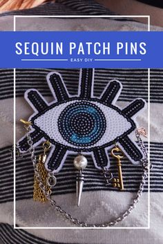 Easy DIY Sequin Patch Pins: Inspired by accessories spotted in the Karlie Kloss x Express fashion line, these trendy brooches and pins can be made with sequin patches and basic jewelry supplies in an afternoon!