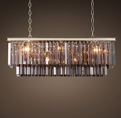For Odeon Smoke Glass Fringe Rectangular Chandelier By Restoration Hardware At Style