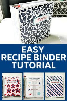 Recipe Binder for Easy Organized Recipes.  Make meal planning and meal prep easier with a recipe binder! How to put together a simple recipe binder for your kitchen. Easily organize all of your recipes with this quick and simple organization project. #organizingmoms Organize Your Life, Organizing Your Home, Organizing Tips, Binder Organization, Recipe Organization, Easy Meal Prep, Easy Meals, Recipe Binders, Organized Mom