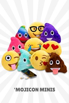 Mini Emoji plush pillows in all shapes, sizes and colors. Even colored poop pillows!