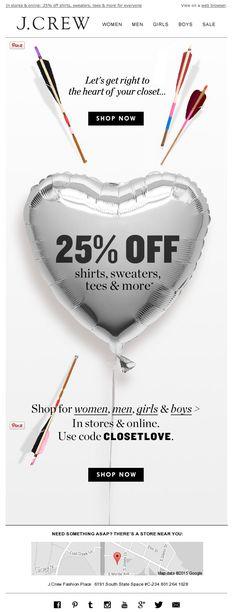 J. Crew Valentine's Day email 2015