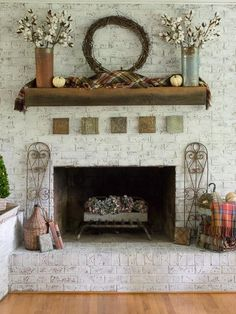 Farmhouse Style Fall Mantel With Cotton Stems