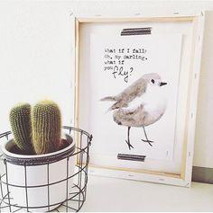 Kaart Bird What if i fall? Oh, my darling, what if you fly? Prachtige poster met handgeschilderd vogeltje van By_Au3      Materiaal: 340 gram gesatineerd papier     Formaat: A4 (210 x 297) - € 1,95