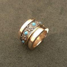 Anillo plata, bronce y turquesas