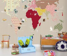 World Map Wall Sticker with Magnetic Animals Portrait Wall Stickers ...