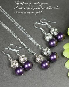 Bridesmaid jewelry Wedding bridal jewelry ,bridesmaid gifts,bride groom mother ,mother in law ,Purple Earrings & Necklace SET ,Drop, Dangle