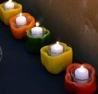 Mexican fiesta candleholders - Bell peppers cleaned out pop in a votive candleholder with a candle!
