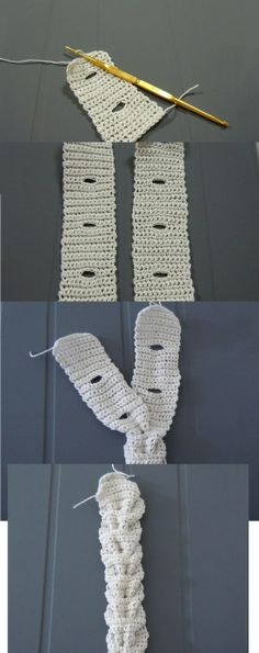 "cool crochet technique – this ""braid"" can be used around hats, beanies, cowl, as a belt… 