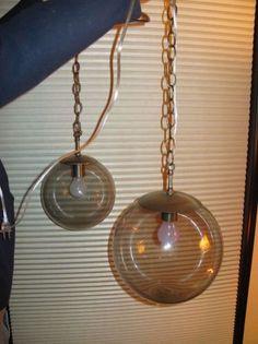 Pair of Mid Century Modern smoked glass hanging globe lights - 125 beans