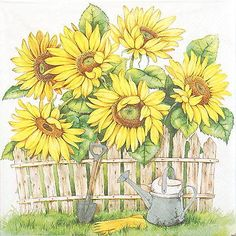 Pretty paper decoupage napkin with a garden of sunflowers and a rustic fence. Use for all your decoupage projects. Buy your decoupage supplies at Decoupage Designs USA Decoupage Glass, Paper Napkins For Decoupage, Paper Serviettes, Ostern Party, Paper Art, Paper Crafts, Sunflower Garden, Garden Drawing, Party Napkins