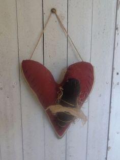 Primitive Grungy Heart Watermelon Hanger Greeter Bee Ornie Handmade  #NaivePrimitive #Handmade