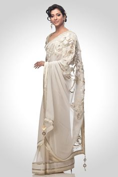 Ivory net saree with embroidered pallu | Satya Paul