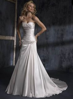Simple Strapless Sweetheart Ruched Corset Beading Lace Up Satin Wedding Dress for Brides