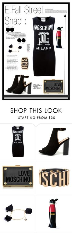 """E.F.Street Snap"" by flonespuddziam ❤ liked on Polyvore featuring Moschino, Bamboo, Love Moschino and black"