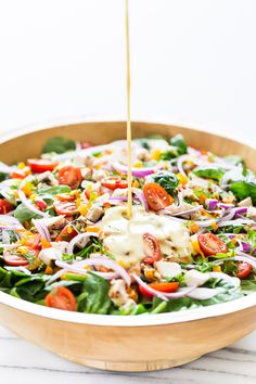 Mediterranean Salad with Hummus Dressing