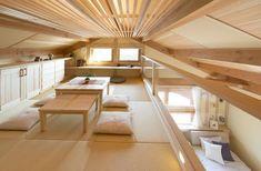 Glass Wall Home Interior Design, Interior And Exterior, Interior Decorating, Small Space Living, Small Rooms, Tatami Room, Loft Room, Loft House, Japanese Interior