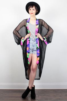 Vintage 80s Beach Cover Up SHEER Black Mesh Neon Floral Print Trim Kimono Jacket 1980s New Wave Robe Duster Jacket S M Medium L Large XL by ShopTwitchVintage #vintage #etsy #80s #1980s #jacket #robe #duster #mesh #neon #floral #kimono #coverup #newwave