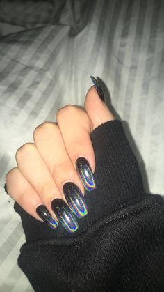 Black holographic nails – – Check more at ideenagel. Black holographic nails – – Check more at ideenagel. Holographic Nails Acrylic, Black Acrylic Nails, Summer Acrylic Nails, Acrylic Nail Art, Glitter Nail Art, Black Chrome Nails, Nail Black, Summer Nails, Cute Black Nails