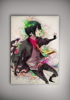 Ao no Exorcist Anime Manga Watercolor Print Poster Rin Yukio Okumura Mephisto Pheles