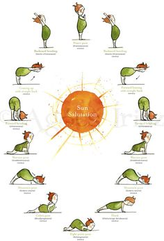 Forward bending, warrior pose, mountain pose, plank - Sun with Yoga Poster. Time to get back into yoga Yoga Inspiration, Fitness Inspiration, Yoga Flow, Yoga Meditation, Vipassana Meditation, Yoga Salutation Au Soleil, Sun Salutation Sequence, Yoga Sun Salutation, Chico Yoga