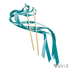 Turquoise Ribbon Wands