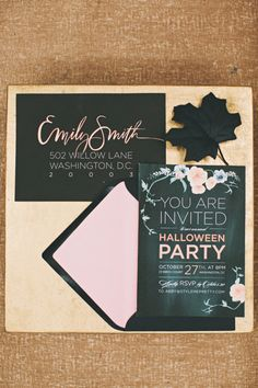 the prettiest Halloween Party invites crafted by http://www.juliesongink.com/  Photography by rebeccahansenweddings.com