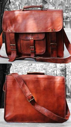 d9436561d532 16 Inches Men s women s Brown Leather Cross-body shoulder Messenger Bag  Leather And