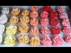Watch how to make buttercream roses in this full tutorial and then see how to make tons of assorted colors with just one pastry bag and one bowl! Buttercream Roses, Icing Frosting, Cake Icing, Cupcake Cakes, Cupcake Ideas, Eat Cake, Cake Decorating Tutorials, Cookie Decorating, Decorating Cakes