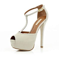 white peep toe t-bar shoes - heels - shoes / boots - women - River Island