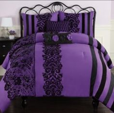 Fabulous Unique Ideas: Colorful Minimalist Home Benjamin Moore minimalist bedroom beige room ideas.Minimalist Decor Bohemian Diy colorful minimalist home desks.Minimalist Home Ideas Posts. Purple Home, Black Comforter, Comforter Sets, Purple Bedrooms, Purple Black Bedroom, Bedroom Brown, Purple And Black, Red Black, Style Deco