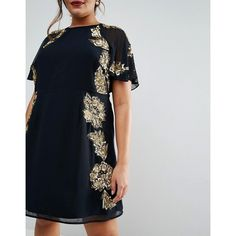 ASOS CURVE Embellished Floral Flutter Sleeve Skater Mini ($57) ❤ liked on Polyvore featuring dresses, cut out skater dress, sequin mini dress, see-through dresses, sheer dress and plus size floral dresses