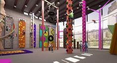 PlayClimb Xtreme, offers individuals a wide range of unique climbing wall challenges for both kids and adults alike. Indoor Jungle Gym, Indoor Gym, Indoor Hammock, Indoor Climbing Wall, Rock Climbing Gym, Gym Architecture, Bouldering Gym, Arcade, Kids Cafe