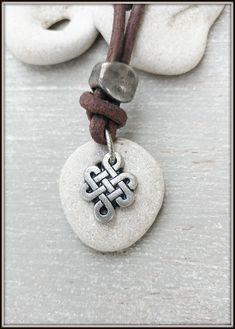 Mens Protection Pendant, Mens Hag stone Necklace, Celtic Knot Necklace, Hagstone Talisman, Wiccan Pendant, Healing Necklace