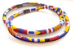 Marine signal flags. Beadwork necklace. Nautical jewelry. Free shipping