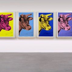 Complete set of 4 #AndyWarhol Cow screenprints on wallpaper, 1966-76, available at Joseph K. Levene Fine Art, Ltd. A cvoice and desirable set of 4 Andy Warhol Cow screenprints with unusually rich colors. http://www.josephklevenefineartltd.com/artists/andy-warhol/andy-warhol-cows.html