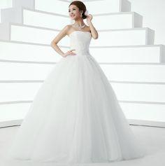 Hotsale! Nueva llegada 2014 de Fahion sin tirantes ata para arriba de la flor de la decoración de Slim vestidos de boda, envío libre