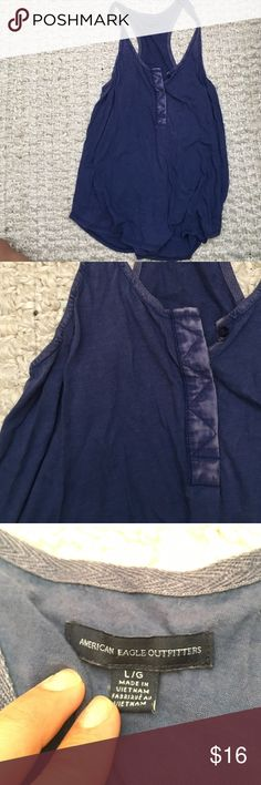 AE Blue Tank Top So soft! American Eagle Outfitters Tops Tank Tops