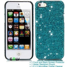 E-LV Bling Luxury Stylish Handmade 3D Crystal Rhinestone Back Cover Hard Case/Cover for iPhone 5 5th Gen 16GB / 32GB / 64GB (AT, Verizon, Sprint and Unlocked Models) -Free Clear Front and Back Screen Protector+Cleaning Cloth+Water Resistant Pouch+E-LV Microfiber Cleaning Cloth Sticker+extra crystals