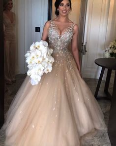 Sleeveless Deep V Neck Long Champagne Beading Tulle Ball Gown Prom Dress,Long Tulle Prom Dresses,Long Evening Dress,Formal Dress · BeautyPromDress · Online Store Powered by Storenvy Wedding Dress Organza, Tulle Ball Gown, Ball Gowns Prom, Custom Wedding Dress, Tulle Prom Dress, Designer Wedding Dresses, Bridal Dresses, Prom Dresses, Wedding Gowns