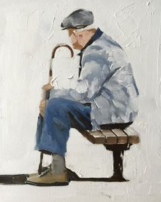 Old Man Painting Old Man Art Old Man PRINT Old Man on Bench - Art Print - from original painting by J Coates Original Oil Painting or Print Figure Sketching, Figure Drawing, Painting People, Figure Painting, Drawing People, Watercolor Paintings, Original Paintings, Guache, People Art