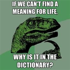 Philosoraptor - If we can't find a meaning for life, why is it in the dictionary?