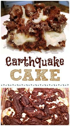 Earthquake Cake! A moist, delicious cake you don't have to frost because the ooey-gooey cream cheese mixture becomes a frosting explosion that cracks the cake apart. Hence the name!