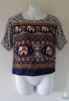 VTG Navy Tribal Elephant Print Blouse Crop Top Ladies S 10 Indie Festival Grunge £29.00